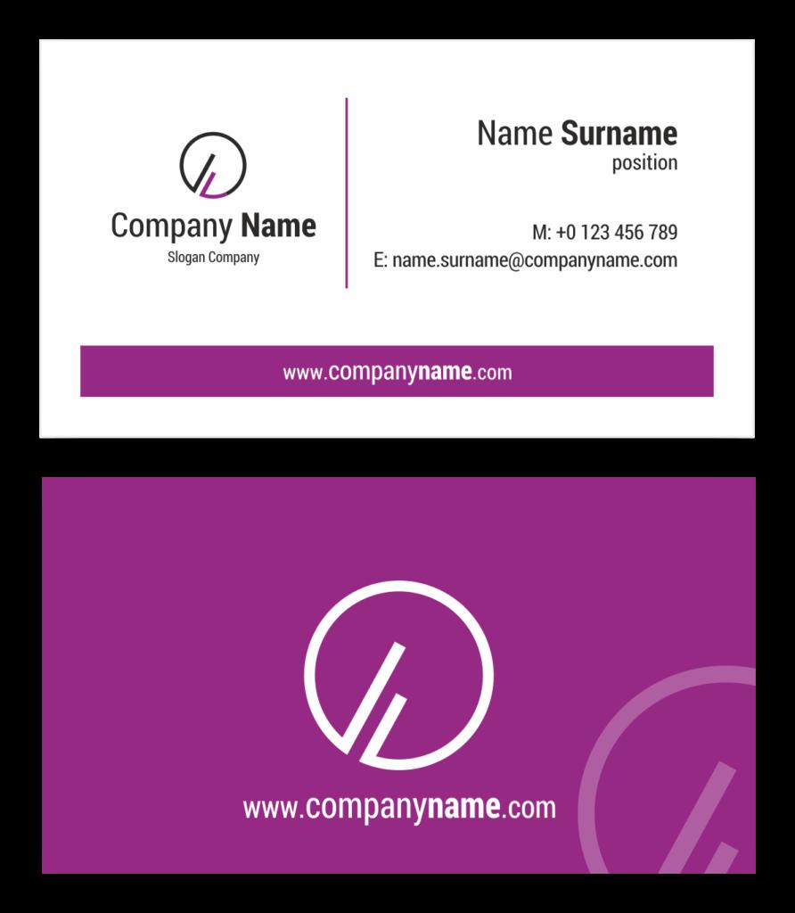 Purple business card in CorelDraw PDF